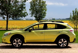 Subaru's Crosstrek XV Hybrid and matching cropland - photo taken in August of 2014.