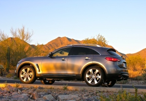 2012 Infiniti FX50S (fast) in front of McDowell Mts. in Scottsdale, AZ - 3/3/12.